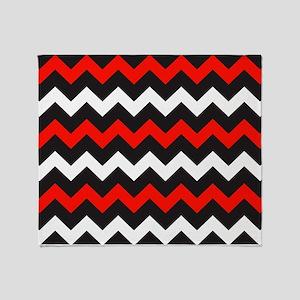 Black Red And White Chevron Throw Blanket