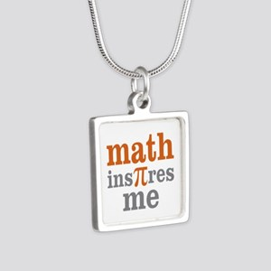 Math Inspires Me Silver Square Necklace