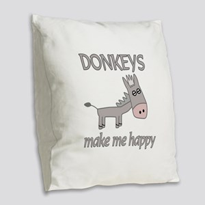 Donkey Happy Burlap Throw Pillow