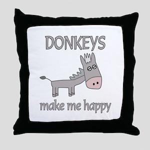 Donkey Happy Throw Pillow