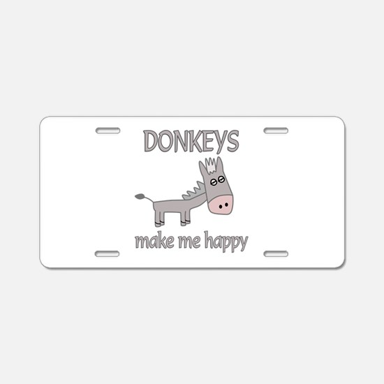 Donkey Happy Aluminum License Plate