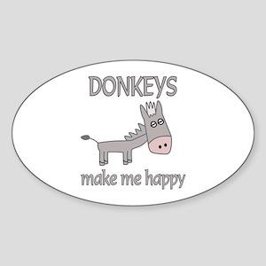 Donkey Happy Sticker (Oval)