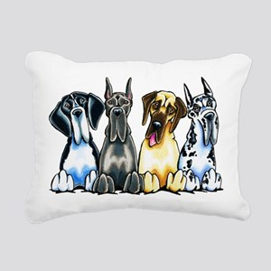 4 Great Danes Rectangular Canvas Pillow