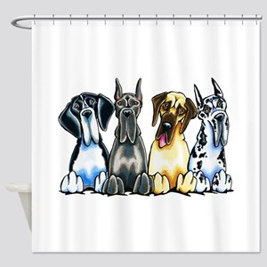 4 Great Danes Shower Curtain