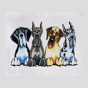 4 Great Danes Throw Blanket