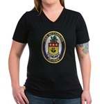 USS McCANDLESS Women's V-Neck Dark T-Shirt