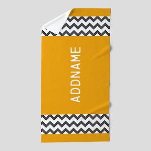 Custom Yellow and Gray Chevron Beach Towel
