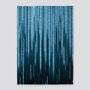 Blue Binary Rain 5'x7'area Rug