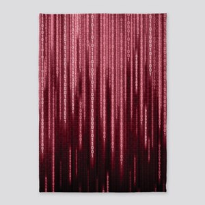 Red Binary Rain 5'x7'area Rug