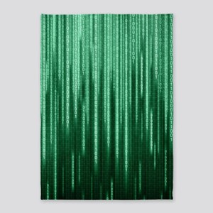Green Binary Rain 5'x7'area Rug