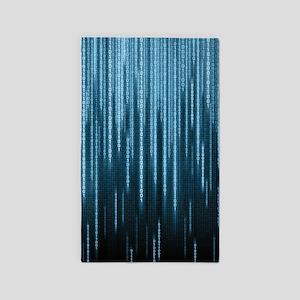 Blue Binary Rain Area Rug
