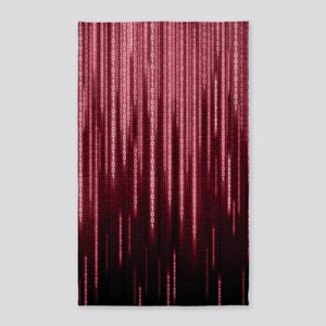 Red Binary Rain Area Rug
