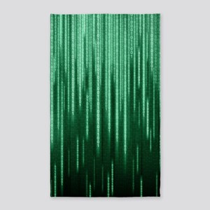 Green Binary Rain Area Rug