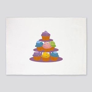 Cupcakes tower 5'x7'Area Rug