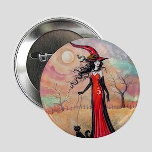 "Autumn Stroll Witch Black Cat Fantasy Art 2.25"" Bu"