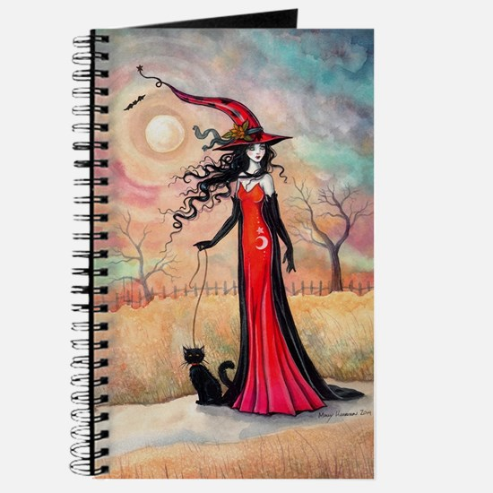 Autumn Stroll Witch Black Cat Fantasy Art Journal