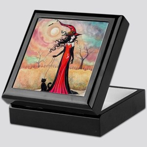 Autumn Stroll Witch Black Cat Fantasy Art Keepsake