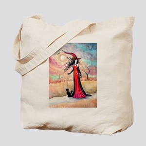 Autumn Stroll Witch Black Cat Fantasy Art Tote Bag
