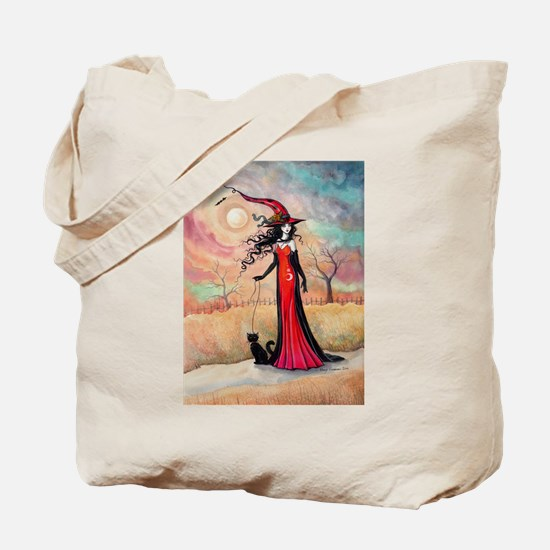 Autumn Stroll Witch Black Cat Fantasy Art Tote Bag