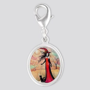 Autumn Stroll Witch Black Cat Fantasy Art Charms