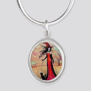 Autumn Stroll Witch Black Cat Fantasy Art Necklace