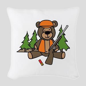 Hunting Teddy Bear Woven Throw Pillow