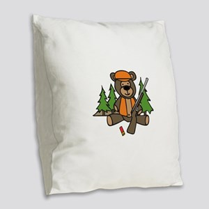 Hunting Teddy Bear Burlap Throw Pillow