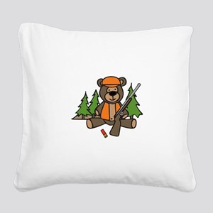 Hunting Teddy Bear Square Canvas Pillow
