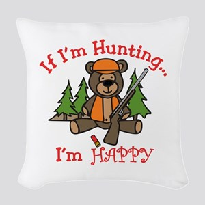 Happy Hunting Woven Throw Pillow