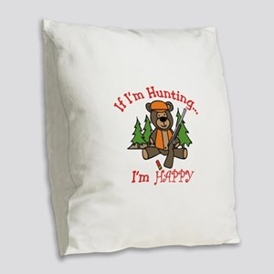 Happy Hunting Burlap Throw Pillow