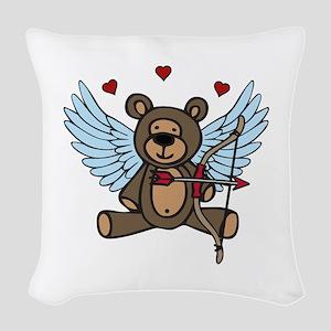 Cupid Teddy Bear Woven Throw Pillow