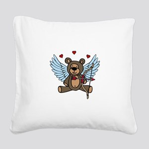 Cupid Teddy Bear Square Canvas Pillow