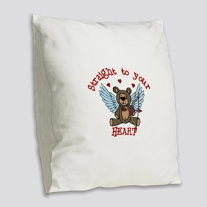 Straight to your Heart Burlap Throw Pillow
