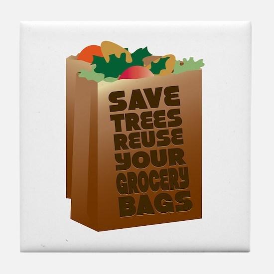 Save Trees Reuse Tile Coaster
