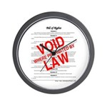 Bill of Rights: Void by Law Wall Clock