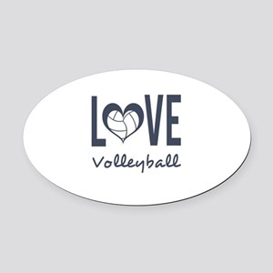 Love Volleyball Oval Car Magnet