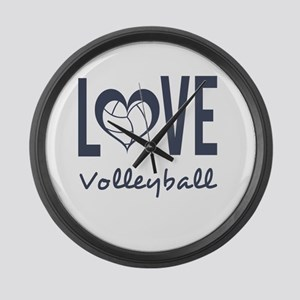 Love Volleyball Large Wall Clock
