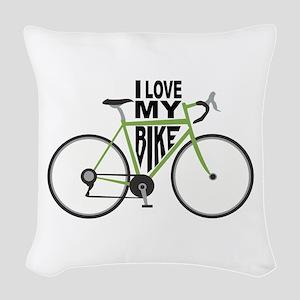 I Love My Bike Woven Throw Pillow