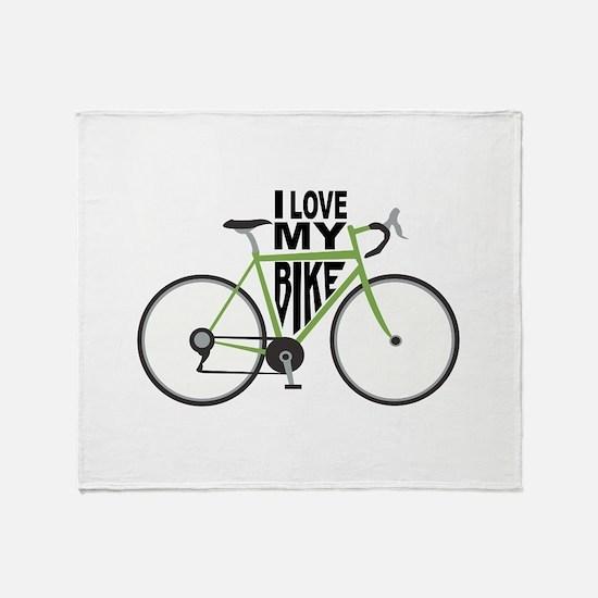 I Love My Bike Throw Blanket