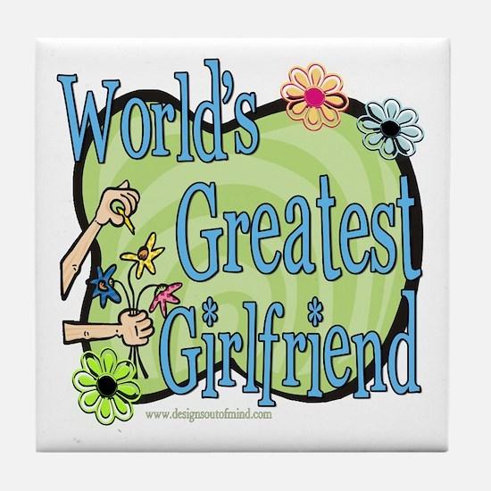 Greatest Girlfriend Floral Tile Coaster