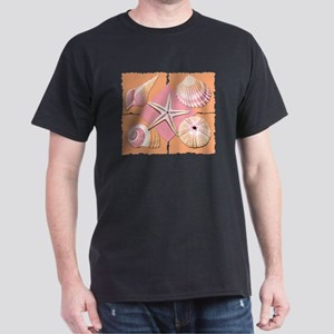 Collage of Beach Seashells Dark T-Shirt