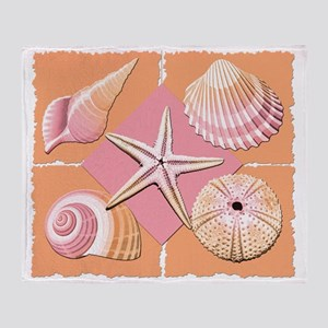Collage of Beach Seashells Throw Blanket