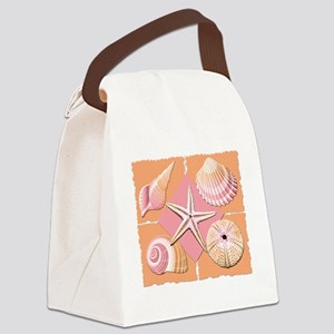 Collage of Beach Seashells Canvas Lunch Bag