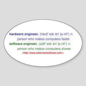 HW Engineer vs. SW Engineer Sticker (Oval)