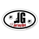 The Real Jersey Girl oval sticker
