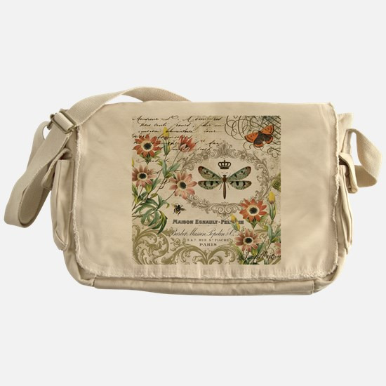 modern vintage French dragonfly Messenger Bag