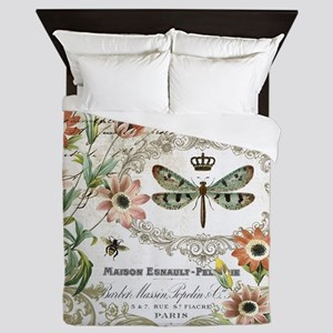 modern vintage French dragonfly Queen Duvet