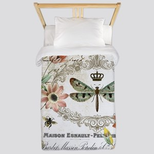 modern vintage French dragonfly Twin Duvet