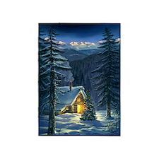 Christmas Snow Landscape 5'x7'area Rug