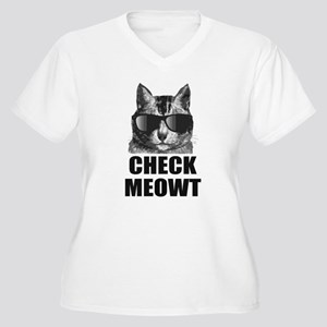 Check Meowt Women's Plus Size V-Neck T-Shirt